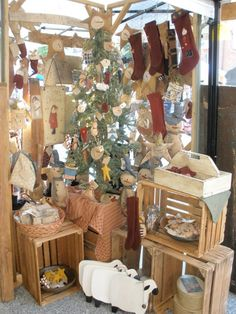 What a great way to make a Christmas Corner in a booth ~ Theresa's Prim Treasures