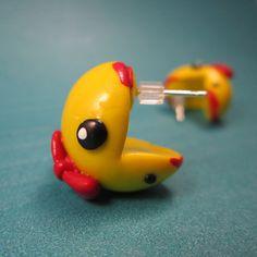 Ms Pacman inspired ear biting earrings. $17.00, via Etsy.