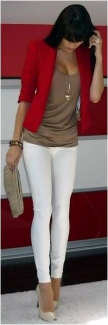 I could do something like this! Have the perfect blazer and brown wedge sandals