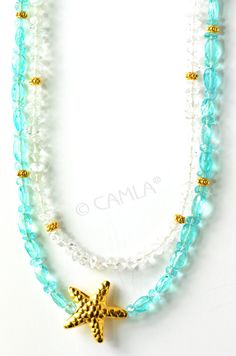 Seaside wedding jewelry: Sea Green Gold Starfish Necklace by Camla.