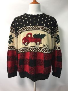 Polo Ralph Lauren Sweater Christmas Tree Truck Hand Knit Rare Vintage 1992 XL #PoloRalphLauren #Pullover