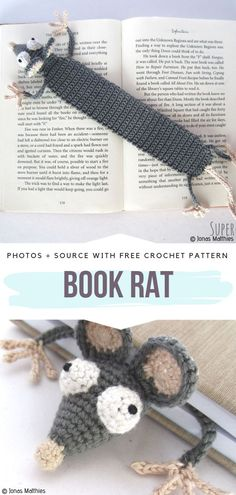 Funny Crochet Bookmarks Free Patterns Book Rat Free Crochet Pattern Learn the basics of how to needl Crochet Bookmark Pattern, Crochet Bookmarks, Crochet Books, Crochet Gifts, Crochet Afghans, Crochet Blankets, Crochet Stitches, Crochet For Kids, Easy Crochet