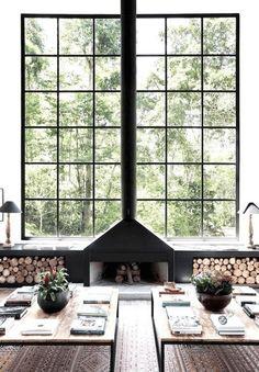 Symmetrical Fireplace - Scandinavian Interiors