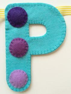 'P' of spotty 'Happy Birthday' hand sewn banner