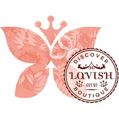 Gardner Design - Lavish Boutique logo design. A butterfly and crown with floral patterns is overlaid by a word mark stamp.