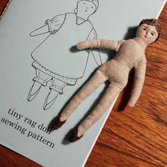 """I fell in love with pattern """"the tiny rag doll"""". The pattern pieces are so small it is perfect for hand stitching, and the… Doll Sewing Patterns, Sewing Dolls, Tiny Dolls, Soft Dolls, Dollhouse Dolls, Miniature Dolls, Dollhouse Miniatures, Stitch Toy, Ann Wood"""