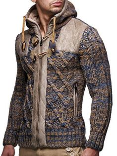 Leif Nelson Men's Knit Zip-up Jacket With Geometric Patterns and Leather Accents Leif Nelson, Look Man, Mens Fashion, Fashion Outfits, Fashion Ideas, Casual Sweaters, Knit Jacket, Gentleman Style, Mens Clothing Styles
