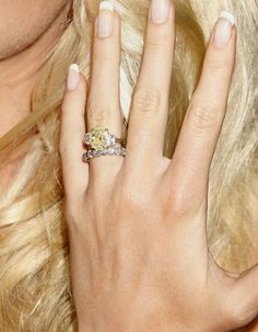Heidi Montag's Canary Yellow Diamond Wedding Ring Engagement Ring Pictures, Celebrity Engagement Rings, Diamond Engagement Rings, Canary Diamond, Yellow Diamond Rings, Three Stone Rings, Dream Ring, Unique Rings, Beautiful Rings