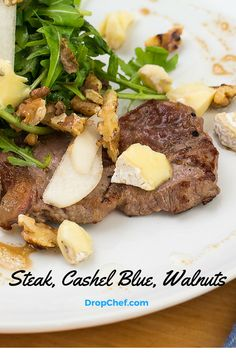 Lean Irish Steak with Pear, Cashel Blue Cheese & Walnut Salad. On the menu this week! Healthy, quick and delivered right to your door! Walnut Salad, Beef Dishes, Blue Cheese, Beef Recipes, Pear, Irish, Healthy Eating, Food, Meal