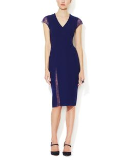 Wool Sheath Dress with Lace Accents by Reem Acra