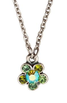 Michal Negrin Silver Plated Flower Pendant Crafted with Green and Olivine Swarovski Crystals