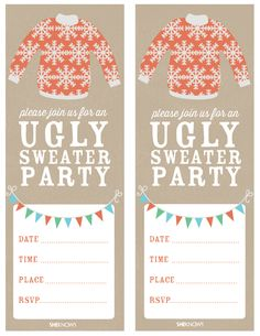 Tacky Christmas Sweater Party Invitation Wording Awesome How to Host An Ugly Sweater Party – Sheknows Tacky Christmas Party, Tacky Christmas Sweater, Ugly Sweater Party, Christmas Ideas, Xmas Party, Holiday Ideas, Printable Invitation Templates, Invitation Wording, Invitation Ideas