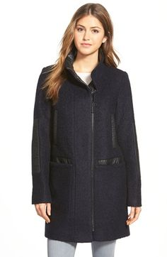 Vince Camuto Faux Leather Trim Bouclé Coat available at #Nordstrom