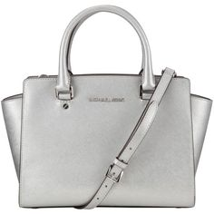 MICHAEL Michael Kors Selma Medium Top Zip Leather Satchel (10 020 UAH) ❤ liked on Polyvore featuring bags, handbags, silver, white handbags, leather satchel handbags, crossbody handbag, leather crossbody handbags and leather satchel