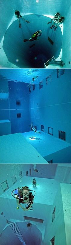 The world's deepest indoor swiming pool... (113 ft. deep)