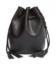 Street Level Vegan Leather Bucket Bag // Black bucket bag