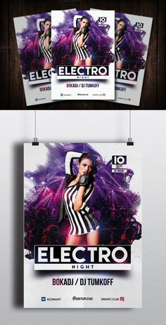 Electro Night Party Flyer Template. Flyer Templates. $8.00