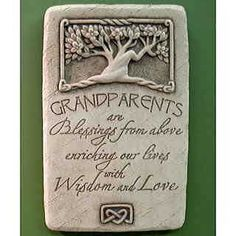 Order Grandparents Plaque Carruth from Ken's Flower Shops, your local Perrysburg & Toledo OH florist. Send Grandparents Plaque Carruth for fresh and fast flower delivery throughout Perrysburg & Toledo OH , OH area. Concrete Sculpture, Grandma Quotes, Tree Carving, Memorial Stones, Grandma And Grandpa, Cast Stone, Grandparent Gifts, Grandparents Day, Celtic Designs