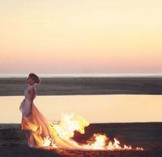 Imagen de fire, girl, and dress
