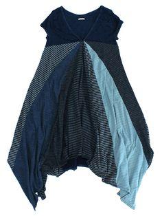 "KAPITAL tunic hankerchief hem multi fabric ""skirt"" cap sleeve blues wide flowing fluttery"