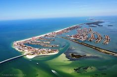 Aerial of Clearwater Beach, showing that it is truly an island.