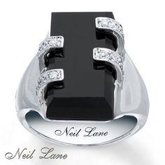 Jared - Neil Lane Designs Onyx 1/4 ct tw Diamonds Sterling Silver Ring