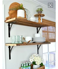 How to add beautiful DIY open shelving in the kitchen for under 50 A great way to add rustic farmhouse charm instead of cabinets in the kitchen Farmhouse Kitchen Cabinets, Diy Cabinets, Kitchen Redo, Kitchen Ideas, Kitchen Small, Diy Kitchen Shelves, Open Cabinets, Kitchen Corner, Farmhouse Shelving
