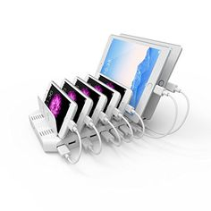 UNITEK 60W 10-Port USB Charger Charging Station with Quick Charge 2.0 for Multiple Device with SmartIC Tech, Organizer Stand for Apple iPad, iPhone, Samsung Galaxy, Google Nexus, LG, HTC and Tablet: Cell Phones & Accessories