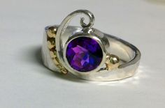 Custom ring with amethyst and 14k gold accents, available at http://goldcrafterscorner.com/rings #customjewelry #handcrafted #ring #GoldcraftersCorner