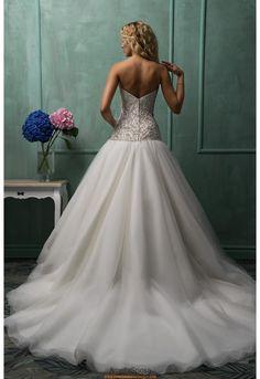 Herz-neck A-linie Preiswertes Bodenlanges Hochzeitskleid Rafaela
