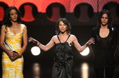 """Jennifer Beals Photos - (L-R) Actress Jennifer Beals, creator of """"The L Word"""" Ilene Chaiken and actress Katherine Moennig speak onstage at the 20th Annual GLAAD Media Awards held at NOKIA Theatre LA LIVE on April 18, 2009 in Los Angeles, California.  (Photo by Kevork Djansezian/Getty Images) * Local Caption * Jennifer Beals;Ilene Chaiken;Katherine Moennig - 20th Annual GLAAD Media Awards - Show"""