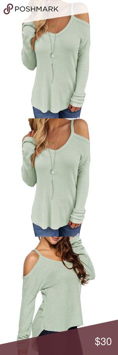 Halter Top Off Shoulder Mint Green Top SIZE M, only worn once. Super cute and comfy! Tops Tees - Long Sleeve