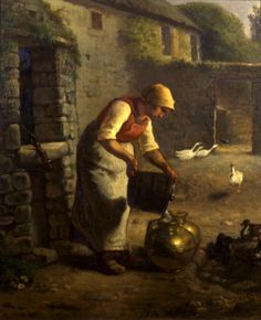 Peasant Woman pouring Milk by Jean-François Millet (French, 1814 - 1875)
