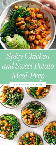 Spicy Chicken and Sweet Potato MEal-Prep.  27 Chicken Meal Prep Recipes That Never Get Boring #purewow #recipe #chicken #cooking #lunch #food #mealprep #chickenmealprep #makeahead #mealplanning #chickenrecipes #easydinners #easylunches #healthylunches #spicychicken
