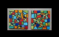 Set posa vasos   Cosas lindas de mosaico Mosaic Art, Mosaic Glass, Mosaic Projects, Craft Night, Handicraft, Magnets, Coasters, Diy And Crafts, Creations