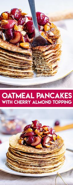 These oatmeal pancakes are a light and healthy vegan, gluten and dairy free alternative to the traditional breakfast staple! #VeganPancakes #GlutenFreePancakes #OatmealPancakes