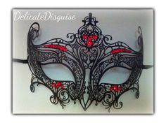 Black Masquerade Mask with Red Rhinestone by DelicateDisguise