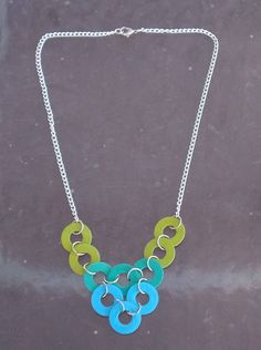 Washer necklace in cool colors