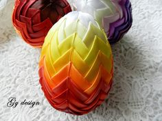 Easter egg Easter decoration quilted egg Easter ornament by Gydesi Folded Fabric Ornaments, Quilted Ornaments, Flower Pot Crafts, Flower Pots, Diy Ombre, Easter Table Decorations, Quilted Table Runners, Fibre Art, Ribbon Crafts