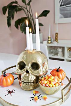 Gold Skull Candle Holder