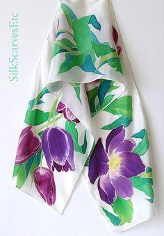 Hand painted silk scarf, white silk scarf purple tulips. Handpainted scarf White green purple floral scarf. Designer silk scarf spring