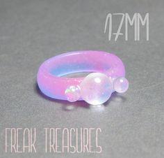 Rainbow tears glow in the dark resin ring 17mm (5.00 EUR) by FreakTreasures