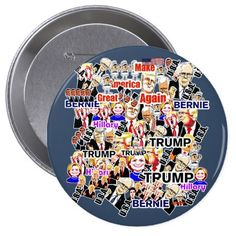 Trump.Hillary.Sanders.Obama. President of the U.S. Pinback Button