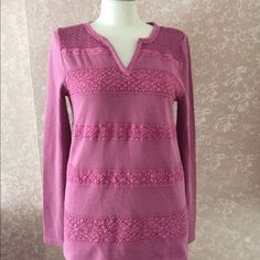 Lucky Brand M Lace Sweater Top Long Sleeve Purple
