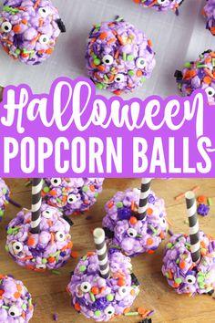 Halloween Candy Crafts, Halloween Popcorn, Halloween Party Appetizers, Halloween Ball, Halloween Treats For Kids, Halloween Goodies, Easy Halloween, Holiday Treats, Baking Recipes For Kids