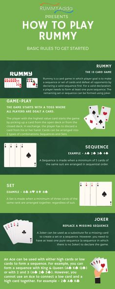 This infographic is about rules of 13 cards rummy game. You can learn basic rules for rummy card game. You can Play both online and offline rummy games after learning this rules. How To Play Rummy, Family Reunion Games, Family Games, Canasta Card Game, Senior Activities, Youth Activities, 2 Person Card Games, Games For Two People, Rummy Online