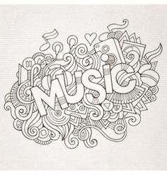 Illustration about Music hand lettering and doodles elements background. Illustration of funky, paper, party - 46425541 Colouring Pages, Adult Coloring Pages, Coloring Sheets, Coloring Books, Black And White Doodle, Free Black, Art Plastique, Printable Coloring, Doodle Art
