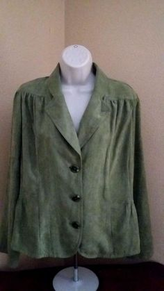 RQT Womens Long Sleeve Green Faux Moleskin Suede  100% Polyester Blouse Size XL #RQT #Blouse #Career