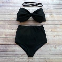 Bow Bandeau Bikini - Vintage Style High Waisted Pin-up Swimwear -  Beautiful and Classic Black - Unique & So Cute!