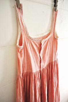 Antique Girls Pinafore Dress Pink Cotton Chambray